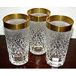 Transparent And Golden Crystal Water Glass, Size: 12 Inch