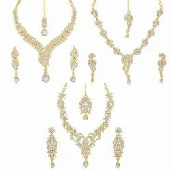 HANDCRAFTED BRASS GOLD STRAND NECKLACE WITH EARRINGS SET _ SET OF 3