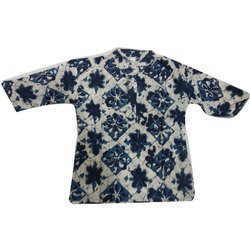Cotton Party Wear Kids Indigo Kurta Pyjama