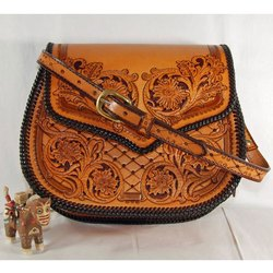 Brown Leather HPSB02 Printed Hand Bags