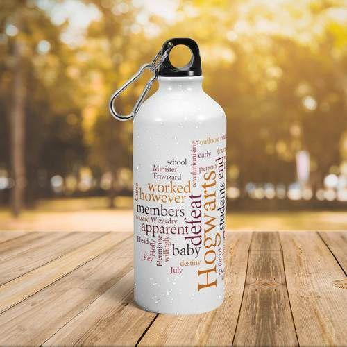 White Aluminium Water Bottle With Logo Printing Capacity 600 Ml