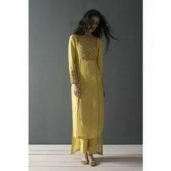 Full Sleeves Regular Ladies Designer Yellow Kurta with Pant