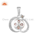 Cz White Rhodium Plated Silver Pink Pearl Pendants Jewelry