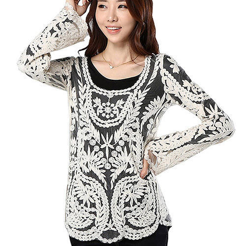 45e1f1de00a77 Ladies Round Neck Embroidered Fancy Top