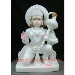 Sitting White Marble Hanuman Statue