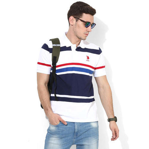 Cotton Men Us Polo Assn White Striped Regular Fit Polo Tshirt Rs
