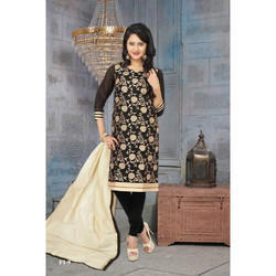 Chanderi Black Party Wear Fashionable Churidar Suits