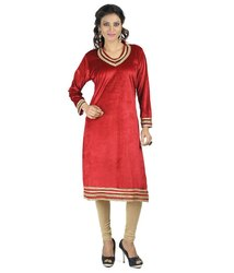 Ladies Red Casual Kurtis