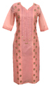 Lavanya Rayon Chanderi Peach Colour Paan Gala Kurti With Embroidery