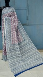 Natural Hand Block Printed Cotton Saree