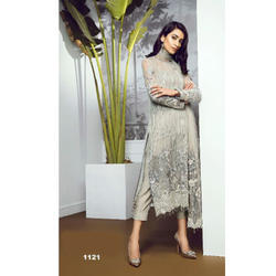 Embroidered Grey Long Kurti, Size: M - XL