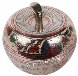 Nirmala Handicrafts Brass Apple Shape Bowl With Lid Home And Table Decor Gift Artifact