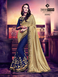 Gold and Violet Rassel Jacquard And Moss Chiffon Saree
