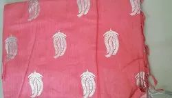 Ladies Party Wear Printed Handloom Linen Saree, 6.3 m (With Blouse Piece)