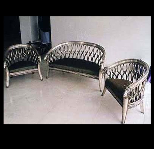 Carved Silver or White Metal Inlaid Sofa Set