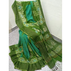Green Wedding Wear Silk Batik Printed Saree, 5.5 m (separate blouse piece)