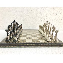 12 Brass Carving Minar Chess Set