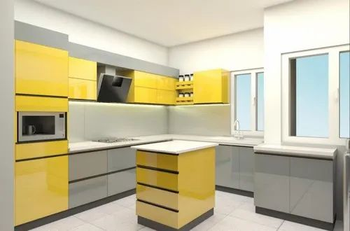 Wooden U Shape Lacquered Glass Kitchen Warranty 1 5 Years Kitchen Cabinets Rs 250000 Unit Id 8878688673