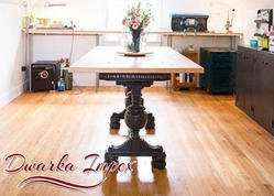 2.5x6 Feet Iron And Wood Resort Cast Iron Table