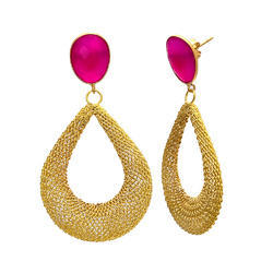 925 Sterling Silver Matty Model Caprice Hot Pink Chalcedony Gold Plated Top Earring Jewellery