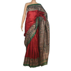 Ladies Art Silk Red Sarees, Length: 6.3 m