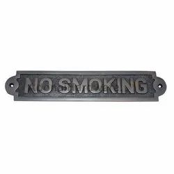 Large No Smoking Brass Sign