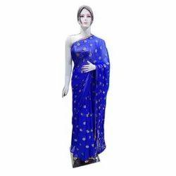 Embroidered Party Wear Ladies Blue Silk Saree, 5.5 Meter