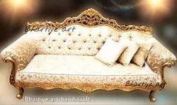 Living Room Carved Sofa Set In Golden Finish