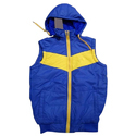Medium And Xl Blue And Yellow Mens Zipper Sleeveless Jacket