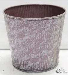 Handmade Metal Pot Brushed effect finishing