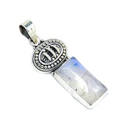 Sterling Rainbow Moonstone Pendant