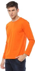 Orange Stylish Plain Cotton Full Sleeves T-Shirt