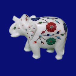 Marble Inlay Elephant Sculptures