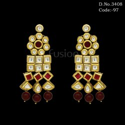 Traditional Antique Hanging Kundan Earrings