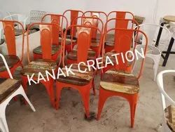 Orange Iron Metal Tolix Chair With Wooden Top for Restaurant