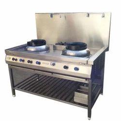 Fabrinox Sink Stainless Steel 2 Burner Cooking Range., for Hotel