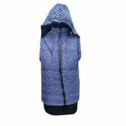 Blue Printed Girls Jacket, Size: Free Size