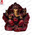 Lord Ganesh Sitting In Leaf Statue