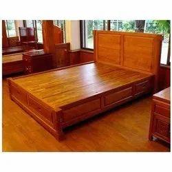 Tulsi Arts Western Teak Wooden Double Bed