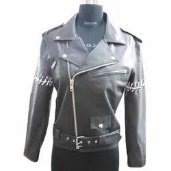 Full Sleeve Plain Ladies Black Biker Leather Jackets