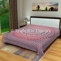 King Mandala Kantha Quilt Handmade Cotton Printed Bedspread