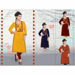 Casual Wear Straight 3/4th Sleeve Rayon Embroidery Kurtis, Size: 3XL-4XL, Wash Care: Machine wash