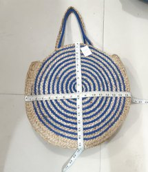 Blue and Beige Jute Bag for Gifting and Packaging