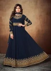 Shamita Shetty Midnight Blue Embroidered Anarkali Suit