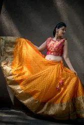 df1cbd02f9 Printed Cotton Ladies Orange Silk Lehenga Choli