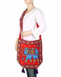 Genera Red & Blue Jaipuri Elephant Mirror Work Embroidery Women Hand Sling Bag, Model No.: BAG02480, 350 Gms