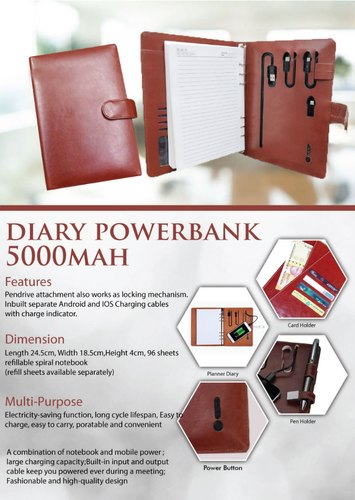 Diary Power Bank 5000mah - Giftana