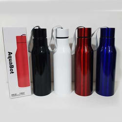 Black, White, Red and Blue Stainless Steel Water Bottle, 7 x 7 x 27.5 cm