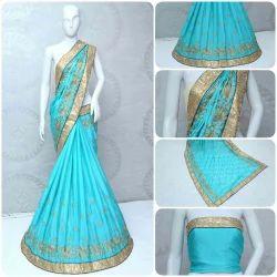 Chinon Silk Designer Saree With Blouse Piece