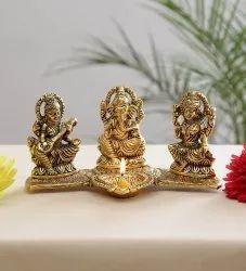 Gold Plated Laxmi Ganesh Saraswati Statue With Diya